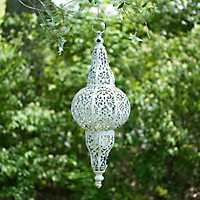 White Punched Metal Hanging Lantern