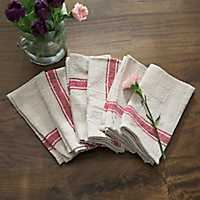 Red Stripe Cotton Kitchen Towels, Set of 6