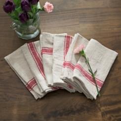 Red Stripe Cotton Kitchen Towels, Set of 6