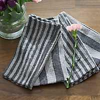 Navy Stripe Cotton Kitchen Napkins, Set of 4