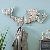 Whitewashed Mermaid Wall Hook