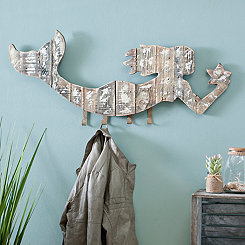 Whitewashed Mermaid Wall Hook