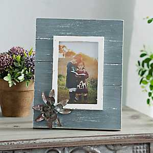 Distressed Galvanized Flower Picture Frame