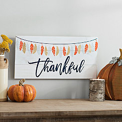 Feather Thankful Wooden Wall Plaque