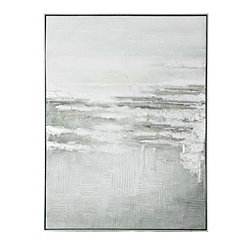Silver Abstract Framed Canvas Art Print