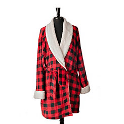 Black and Red Buffalo Check Women's Robe, L/XL