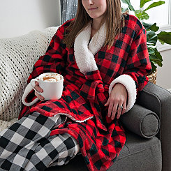 Black and Red Buffalo Check Women's Robe, S/M