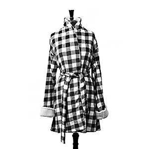 Black and White Buffalo Check Women's Robe, L/XL
