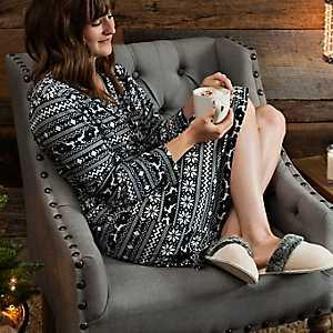 Black Fair Isle Suede Women's Robe, S/M