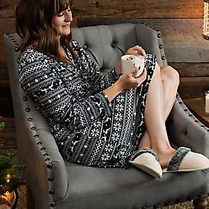 Black Fair Isle Suede Women's Robe, L/XL