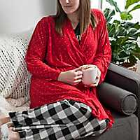 Red Festive Check Suede Women's Robe, L/XL