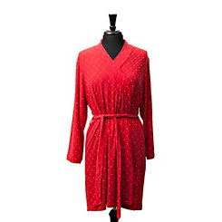 Red Festive Check Suede Women's Robe, S/M