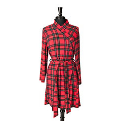 Red Plaid Suede Women's Robe, L/XL