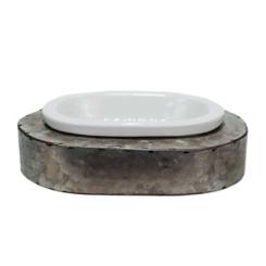 Antique Metal and Ceramic Soap Dish