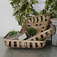 Wooden Tobacco Baskets, Set of 3