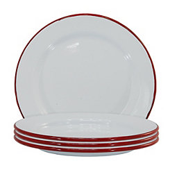 White and Red Enamel Salad Plates, Set of 4
