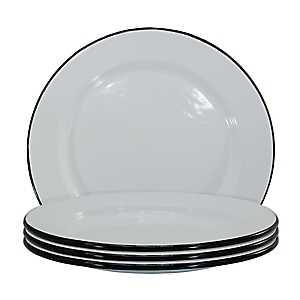 White and Black Enamel Salad Plates, Set of 4