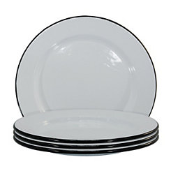 White and Black Enamel Salad Plates, Set of 4