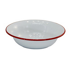 White and Red Enamel Cereal Bowls, Set of 4