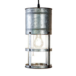 Galvanized Metal Round Pendant Light