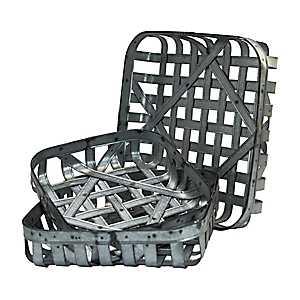 Galvanized Metal Tobacco Baskets, Set of 3