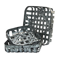 Galvanized Metal Tobacco Baskets, Set of 3