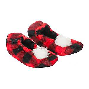 Red Buffalo Check Pom-Pom Women's Slippers, S
