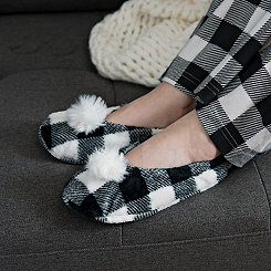 White Buffalo Check Pom-Pom Women's Slippers, L