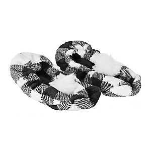 White Buffalo Check Pom-Pom Women's Slippers, M