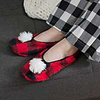 Red Buffalo Check Pom-Pom Women's Slippers, L