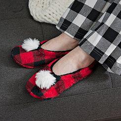 Red Buffalo Check Pom-Pom Women's Slippers, L