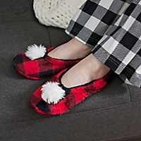 Red Buffalo Check Pom-Pom Women's Slippers, M