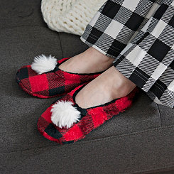 Red Buffalo Check Pom-Pom Women's Slippers, M