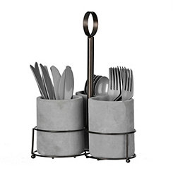 Cement and Metal Utensil Caddy