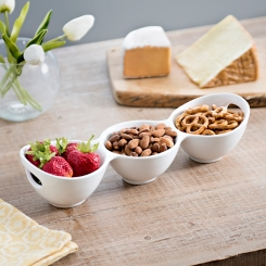 Pure White Divided Snack Bowl