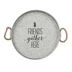 Friends Gather Here Galvanized Tray