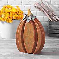 Wood Pumpkin with Galvanized Metal Leaves, 20 in.