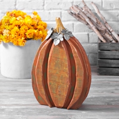Wood Pumpkin with Galvanized Metal Leaves, 20 in.