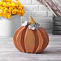 Wood Pumpkin with Galvanized Metal Leaves, 14 in.