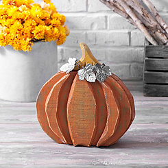 Wood Pumpkin with Galvanized Metal Leaves, 14 in.