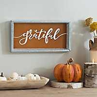 Grateful Galvanized Metal Word Plaque