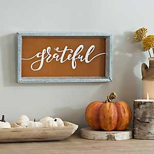 Grateful Galvanized Metal Word Plaque