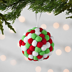 Red, White, and Green Pom-Pom Ornament