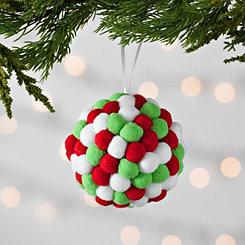 Red, White, and Green Pom-Pom Ornament