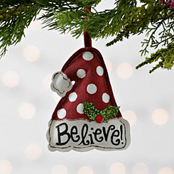 Believe Polka Dotted Santa Hat Ornament