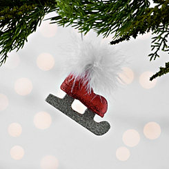 Feathered Glitter Skate Ornament