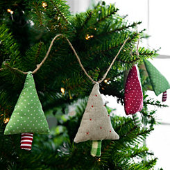 Hanging Fabric Christmas Trees Garland