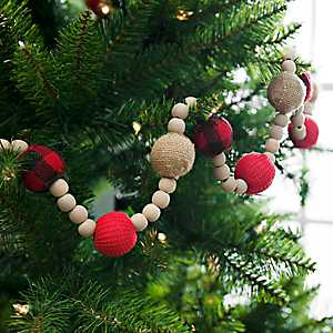 Red and Tan Fabric Beaded Garland