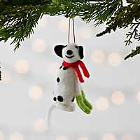 Felt Dog with Scarf Ornament