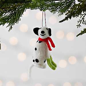 Felt Dog with Scarf Ornament